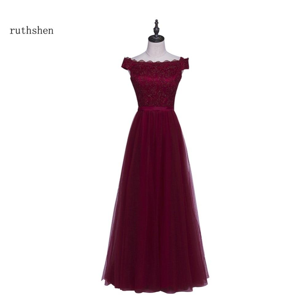 ruthshen Burgundy   Evening     Dresses   2018 Off Shoulder Lace Tulle Long Lace Up Back Prom Gowns Vestidos De Noche Largos