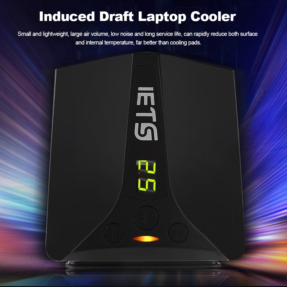 IETS 5 GT102 Deflate Light Laptop Fan Cooler with Temperature Display  Side-draft USB Portable Laptop Cooler Fan Radiator For PC