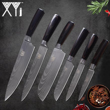 XYj Cooking Stainless Steel Knives Damascus Pattern High Carbon Sharp Blade Bend Comfortable Color Wood Handle Kitchen Knives(China)
