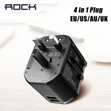 ROCK Multifunctional USB Charger For EU US UK AU,USB Adapter Plug for iPhone Samsung Huawei Xiaomi PD Fast Charging Travel Plug