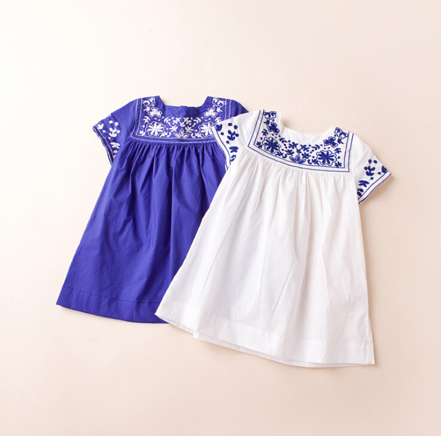2bf01eead534 Summer Cotton Embroidery Dress Brand For Kids Girl