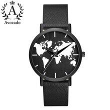 AVOCADO The new brand World Map quartz watch men's sports leather black shell black strap simple men and women style faux leather world map quartz watch