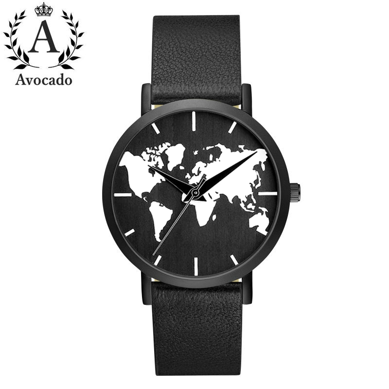 All Black World Map Watch Leather Strap Quartz Movement 3 Hands Men And Women Timer Clock Gift