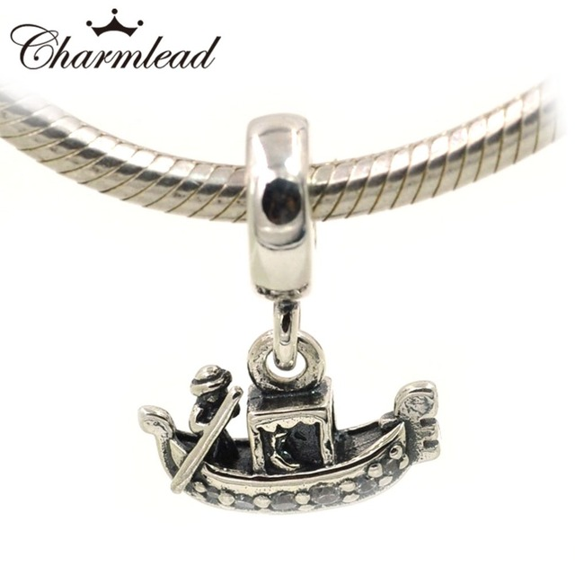 18e2c1636 Fit Pandora Charms Bracelet Necklace Authentic 925 Sterling Silver Beads  Venice Gondola Boat Pendant Charm DIY Jewelry Charmlead