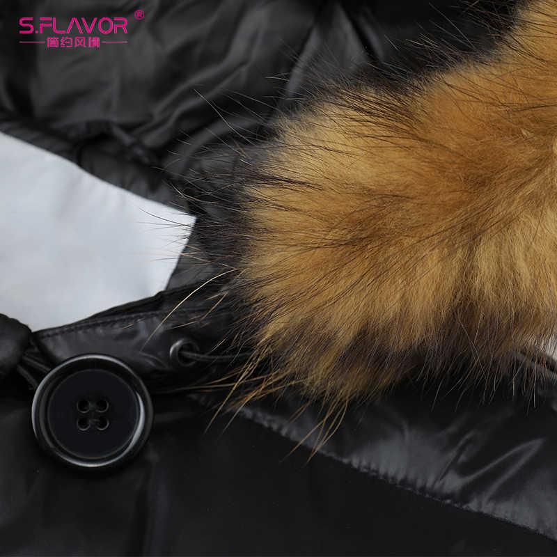 S. รสแฟชั่นฤดูหนาว WARM Down แจ็คเก็ตขนสัตว์ Hooded Outerwear Slim Coat ขนาดกลาง-ยาวผู้หญิงฤดูหนาว Parka ไม่มีเข็มขัด