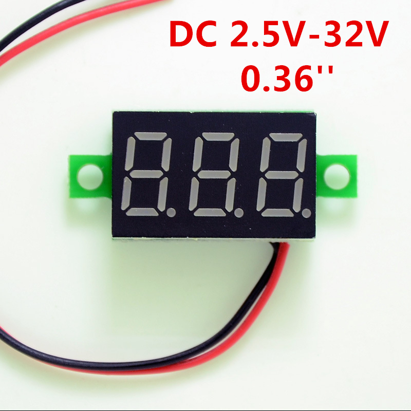 DIY Red Blue Digital LED Mini Display Module DC2.5V-32V DC0-100V Voltmeter Voltage Tester Panel Meter Gauge For Motorcycle Car