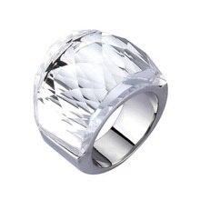Женское модное кольцо с настоящими Австрийскими кристаллами с кольцо из нержавеющей стали 316L для женщин, большое красочное титановое кольцо с большим камнем