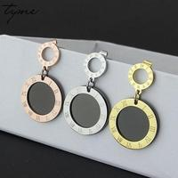 Tyme Double Circle Roman Numerals Love Earrings For Women Gold Color Titanium Stainless Steel Black Stud