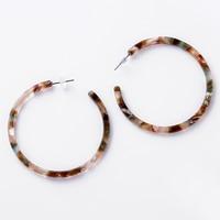 Geometric Acrylic Hoop Earrings Open Round Earrings Retro Wind Tortoiseshell Exaggerated Earrings Woman Acrylic Edition Eardrop