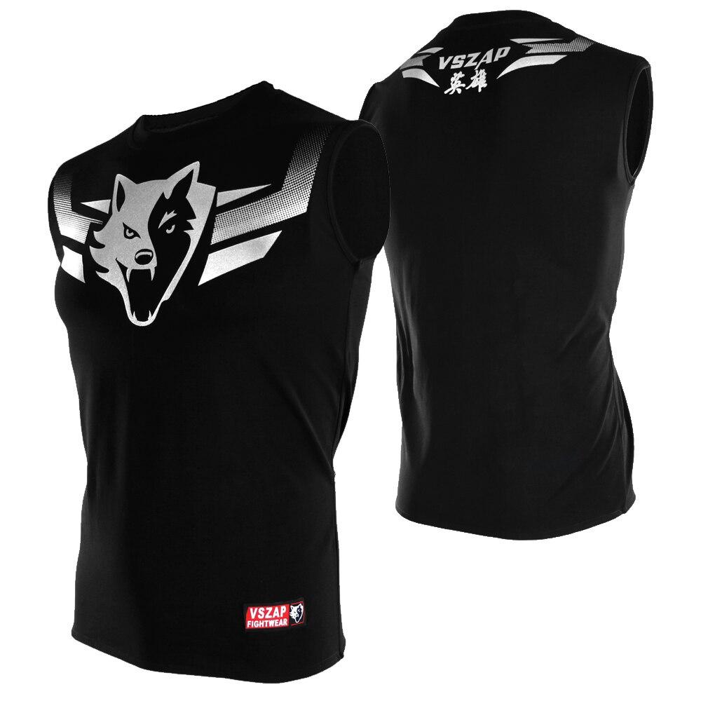 VSZAP T-shirt Men Clothing Vest Mma Muay Thai Tops Tank Reacerback