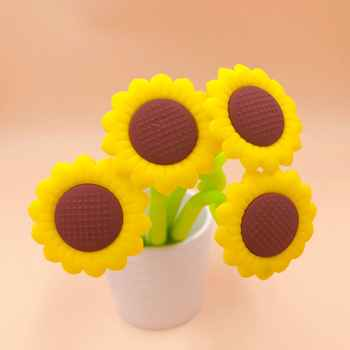 48pcs/1lot Cute Gel Pens Colored Ink sunflower Kawaii Ballpoint School Canetas Boligrafos Gift Stationery Office Supply 0.5mm