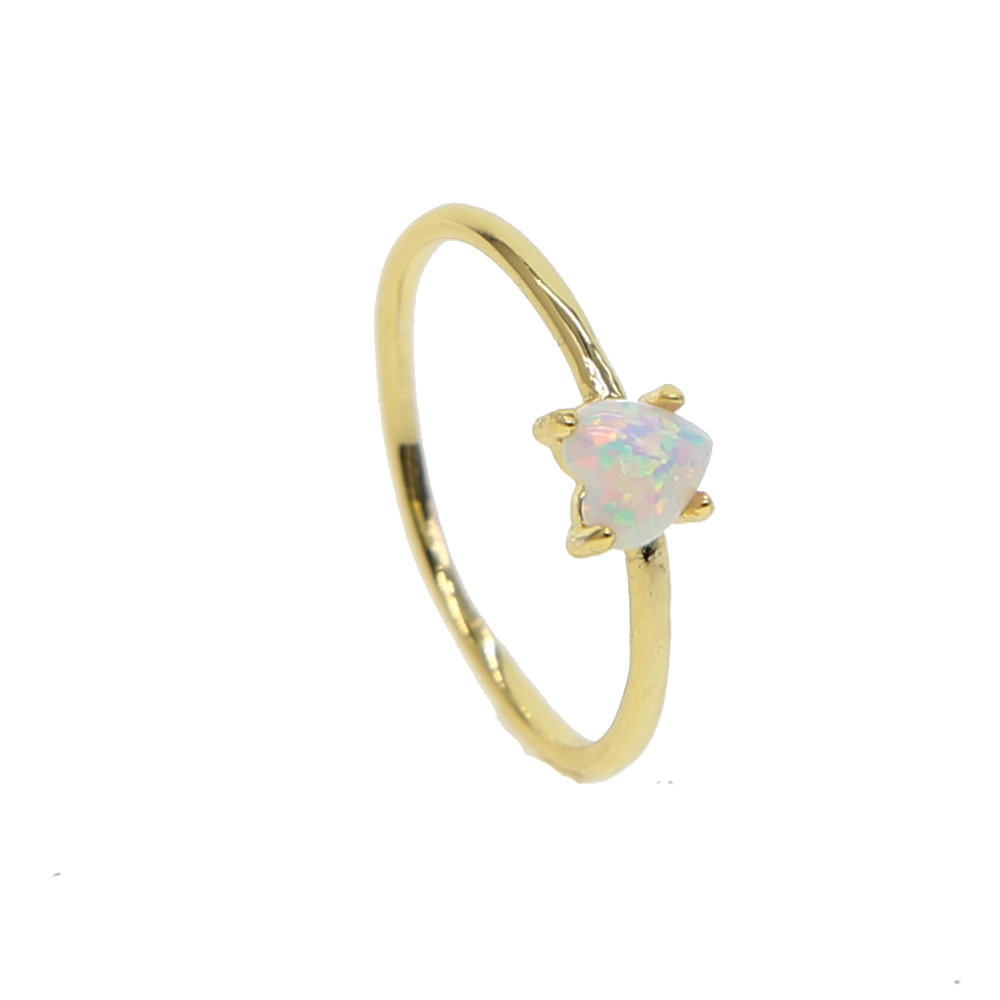 Adorable Heart shape Ring Jewelry Gold color filled high quality White Fire Opal Ring 2018 Women wedding midi Finger cute Rings