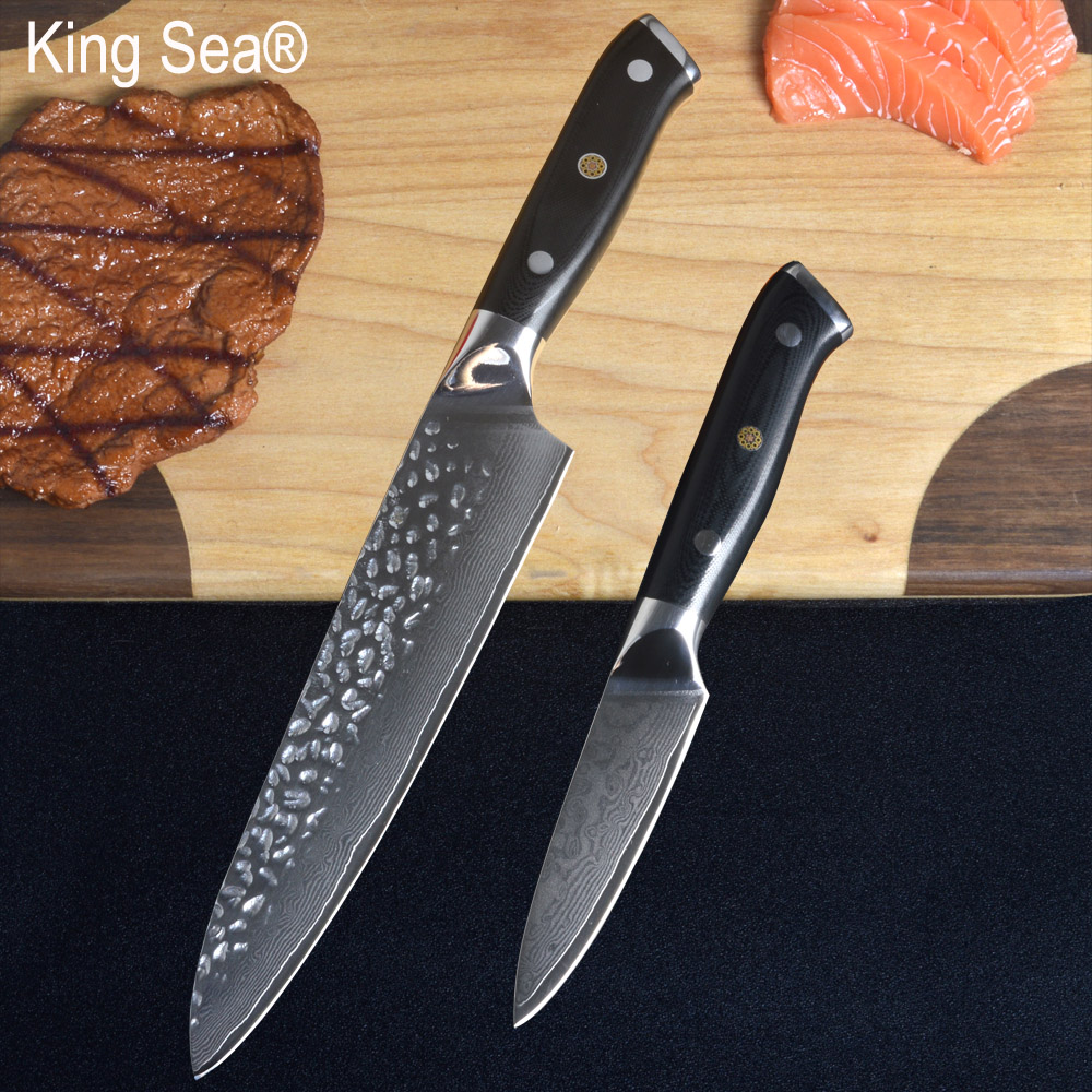 King Sea 2pcs set 8 Damascus Chef Knife and 3 5 inch Damascus Paring Knife set