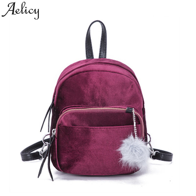 e17ebdc420ac Aelicy Mini Solid Fashion Women Backpacks School Bag For Teenage Girls Fur  Ball HighQuality Corduroy bag Candy Color Travel Bags-in Backpacks from ...