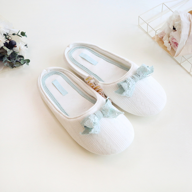 Newest Cotton Home Slippers Ladies Indoor Shoes For Girls Women Bedroom  House Slipper Adult Guest Lace