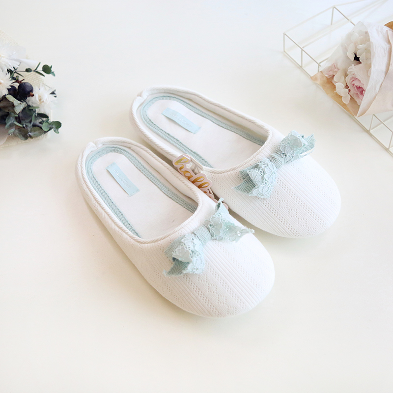 Newest Cotton Home Slippers Ladies Indoor Shoes For Girls Women Bedroom  House Slipper Adult Guest Lace Bow Soft Bottom Flats
