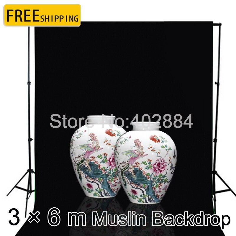 3*6 m coton noir écran mousseline fond professionnel Chromakey équipement de photographie décors Photo