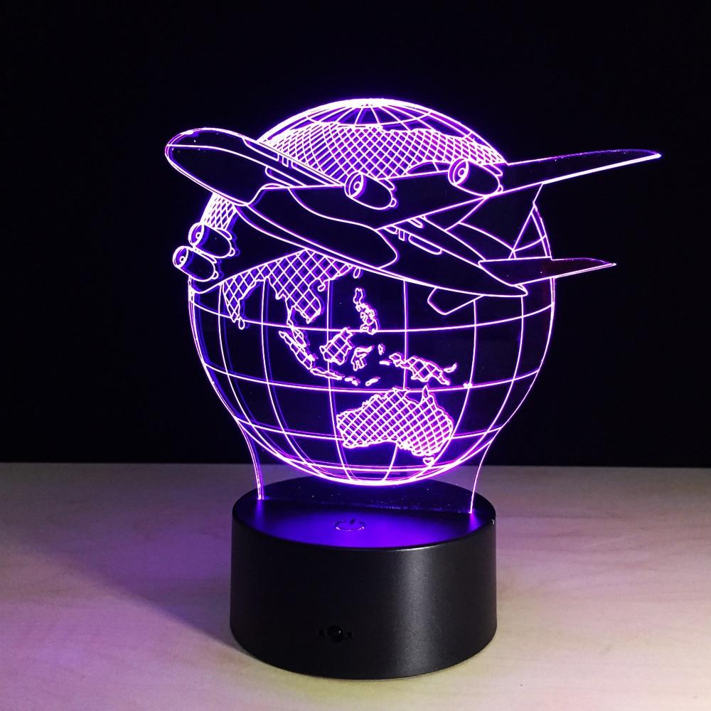 7 เปลี่ยนสี 3D Led โคมไฟกลางคืนเครื่องบินโลกรูปร่าง USB ไฟตารางประดับห้องเด็กของขวัญวันหยุดโต๊ะ L Amparas