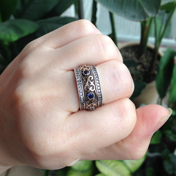 925 sterling silver turkish dual tone unique vintage bronze ring with blue stones man or woman - Turkish Wedding Ring