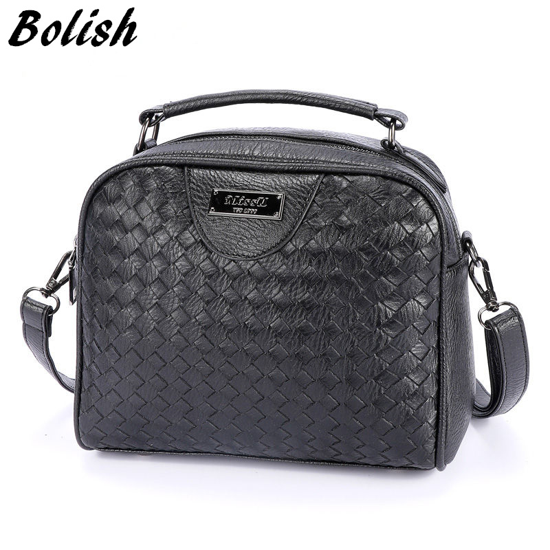 Bolish New Arrival  Knitting PU Leather Handbag Women Crossbody Bag High Quality
