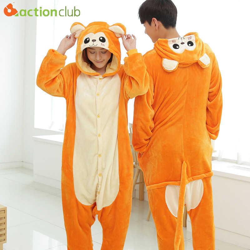 ACTIONCLUB унисекс с милой обезьянкой Pijama для женщин мужчин комбинезоны  фланелевые пижамы Kigurumi одна деталь 93dbe21dba8c9