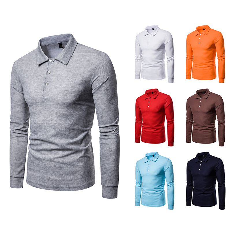 2019 new men's shirt brand clothing solid color lapel long-sleeved   polo   shirt large size slim   POLO   shirt casual men's clothing