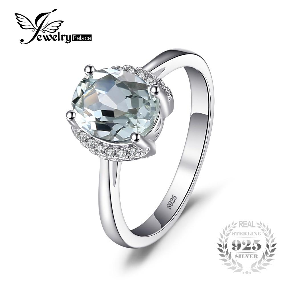 8bb7a8c56d75 Jewelrypalace ovalada marca 1.8ct piedra natural verde amatista compromisos  Anillos para las mujeres real 925 plata esterlina joyería de la vendimia