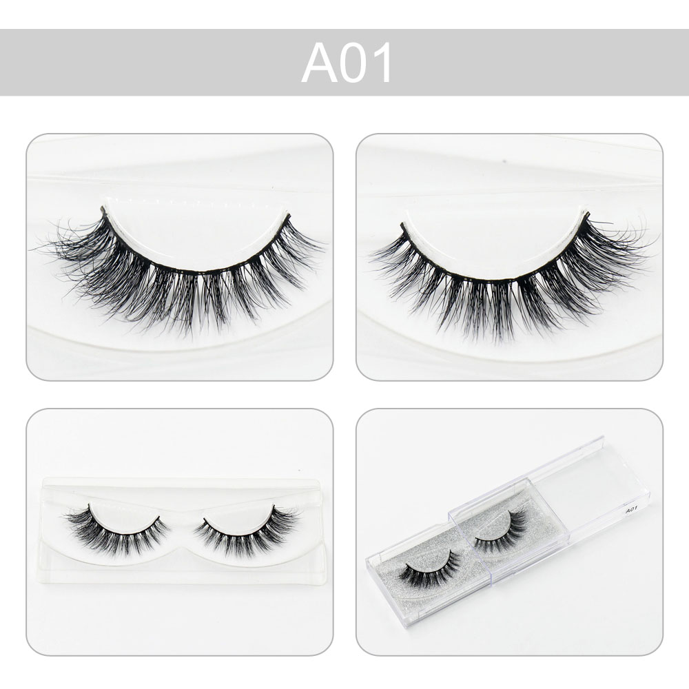 AMAOLAS False Eyelashes 100% 3D Mink Lashes Natural Long Charming Curling Beauty Professional Makeup Extension Tools A01