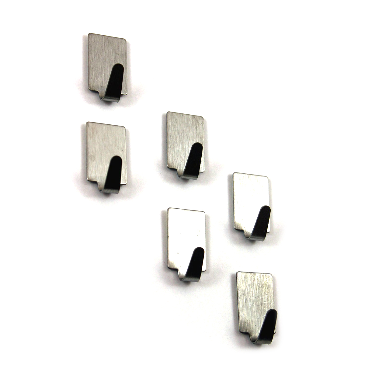 12pcs Adhesive Stainless Steel Towel Hooks Family Robe Hanging Hooks Hats Bag Key Adhesive Wall Hanger for Kitchen Bathroom