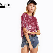 SheIn Female Ladies Casual Tops Women Tops for Spring Vintage Blouse Pink Drop Shoulder Short Sleeve Velvet Top C3001
