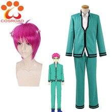 Cosroad Saiki Kusuo hiçbir sai nan Cosplay Üniforma Suit Saiki Kusuo Gül Kırmızı Kısa Peruk Yetişkin okul üniforması Kostümleri