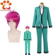 Cosroad uniforme de Cosplay pour adultes, uniforme de Cosplay no Saiki Kusuo, perruques courtes rouge Rose, Costumes scolaires