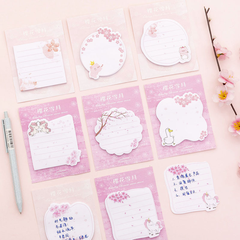 Cute Kawaii Pink Sakura Unicorn Flamingo Pig Sticky Note Memo Pad Office Planner Sticker Paper Korean Stationery Notepad