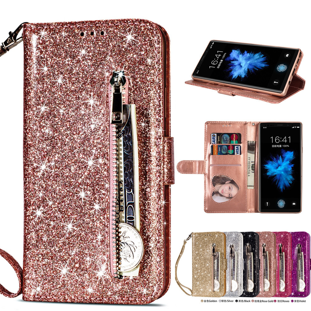 Galleria fotografica Phone Etui Coque Cover Case for Samsung Galaxy S6 S7 S8 S9 Plus Edge Note 8 9 With IMD Glitter PU Leather Zipper bag Flip Wallet