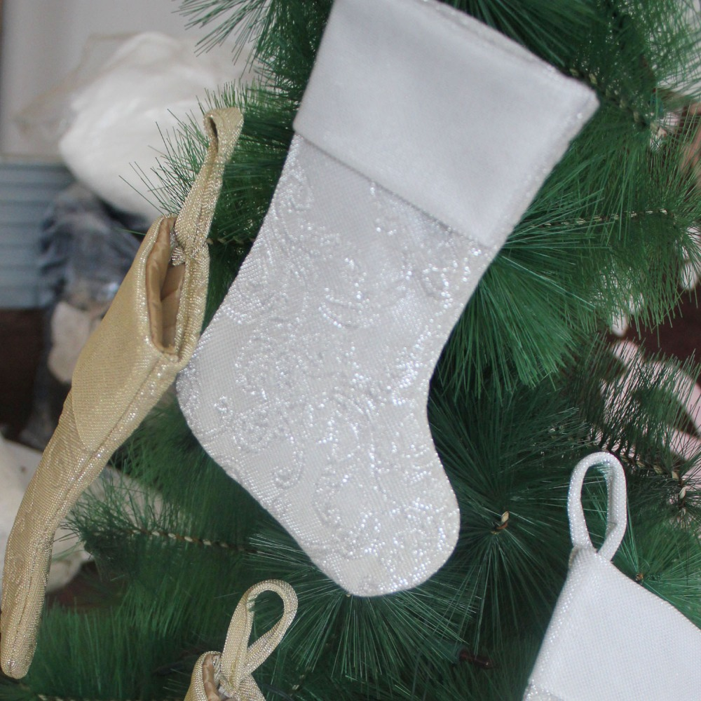 3d embossed shiny glitter sparkle body mini christmas stocking silverygold christmas sock p4325 in pendant drop ornaments from home garden on - Gold Christmas Stocking