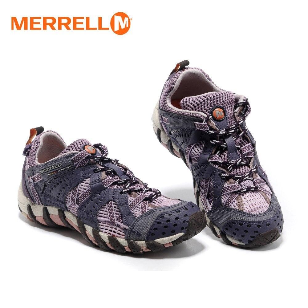 Merrell Cahaya Asli Wanita Berkemah Outdoor Olahraga Sepatu klasik Untuk  Ungu Bernapas Mendaki Gunung Pantai Sneakers di Hiking Shoes dari Olahraga  ... 87870446e6