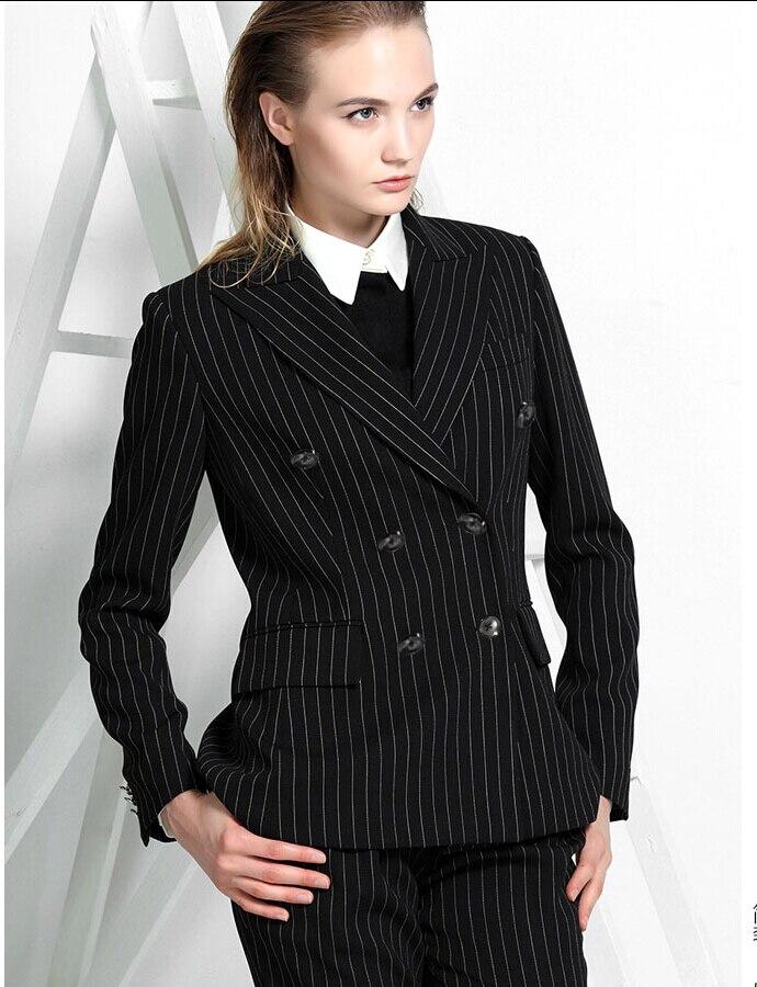 Online Shop Black stripes fwomen suits double-breasted coat ...