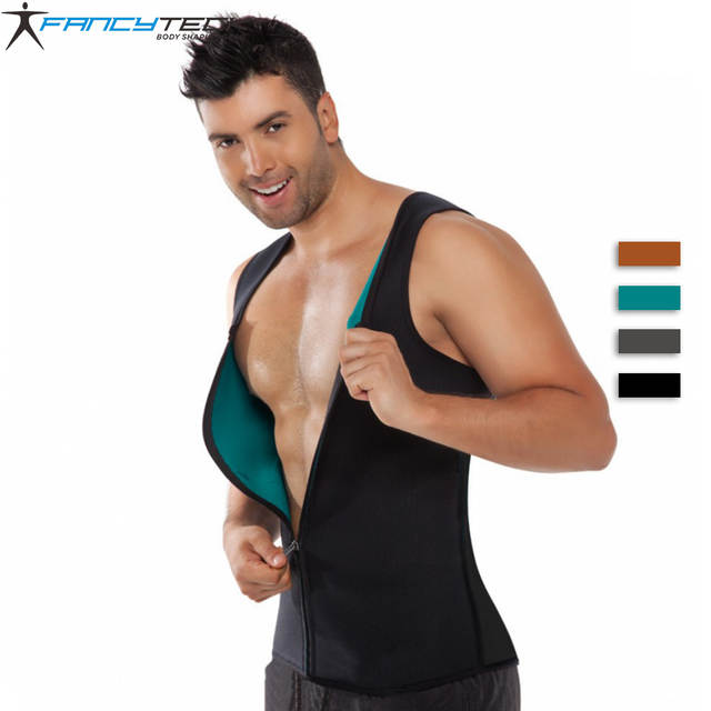 b2740e14948 Men Shapewear Weight Loss Zipper Neoprene Sauna Tank Top Vest for Ultra  More Sweat Slimming Body