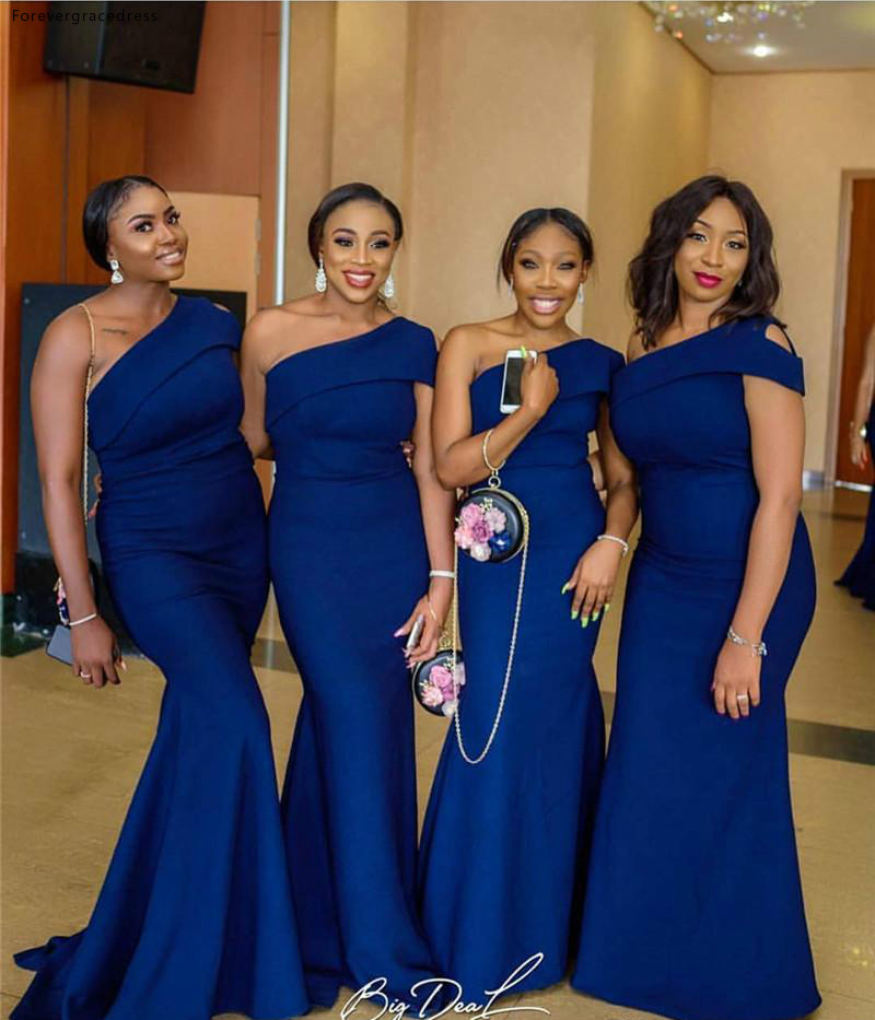 2019 Royal Blue Bridesmaid Dress South African Summer Country Garden Formal Wedding Party Guest Maid of Honor Gown Plus Size
