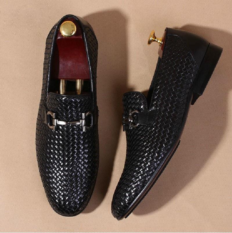 hommes confortable haut de gamme tiss la main en cuir v ritable lumi re lok fu chaussures. Black Bedroom Furniture Sets. Home Design Ideas