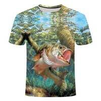 3D fisch t-shirt Modal spaß fisch print digital männer und frauen t-shirts hip hop t-shirts harajuku Lustige angeln t-shirt