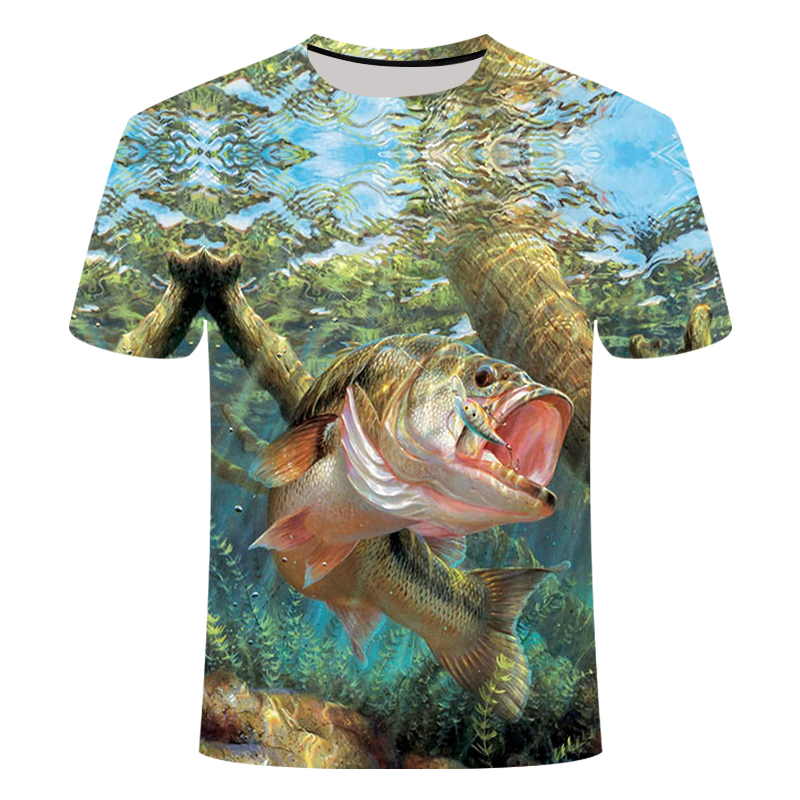 3D Fish T-shirt Modal Fun Fish Print Digital Men's And Women's T-shirts Hip Hop T-shirts Harajuku Funny Fishing T-shirt