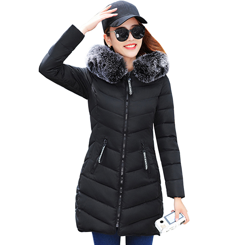 Womens Winter Jackets Coats New Thick Warm Hooded Down Cotton Padded Parkas For Women's Winter Jacket Female Manteau Femme 5L21 black 2017 new parkas female winter coat jacket thick cotton down hooded coats turtleneck padded jackets womens outwear women
