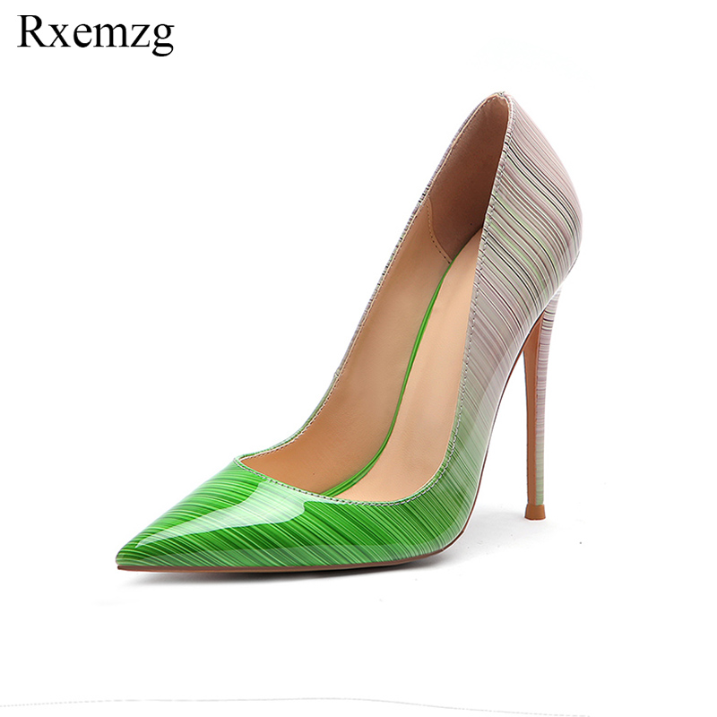 Rxemzg top quality patent leather gradual change color women pumps pointed toe high heels 2019 new