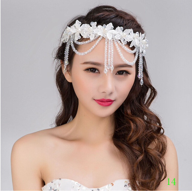Chinese Imported Wedding Accessories for Bride Hairwear with Crystal Pearls Frontlet Tocados Sombreros Bodas Vintage