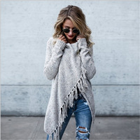 2019 Bohemian Winter Sweater Oversize Tassel Cardigan Long Sleeve Multicolor Casual Sweaters Loose Knitting Robes