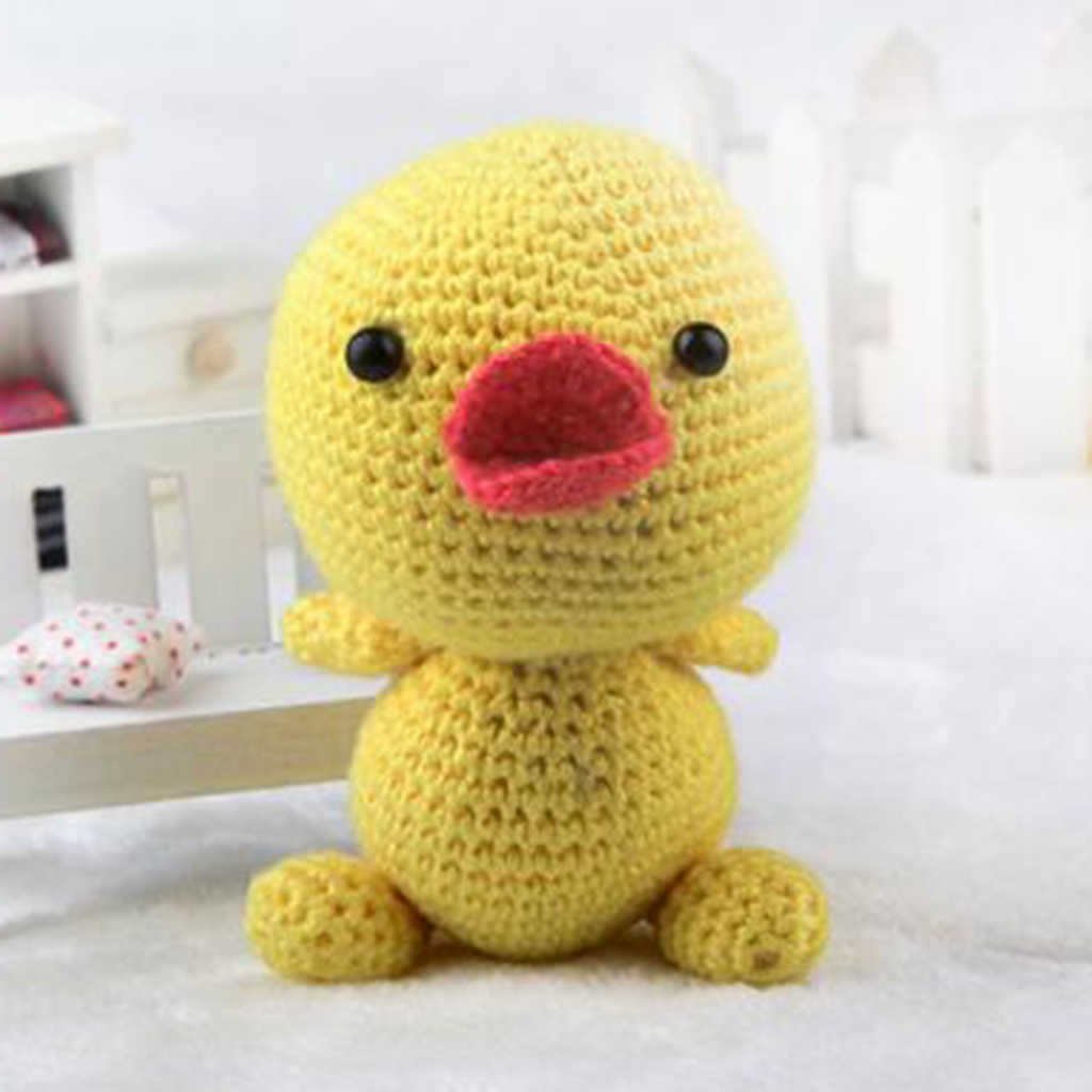 Pato amarillo sin terminar ganchillo tejido a mano juguetes de algodón DIY materiales Kits fáciles de aprender regalo para niños tejer artesanía de costura