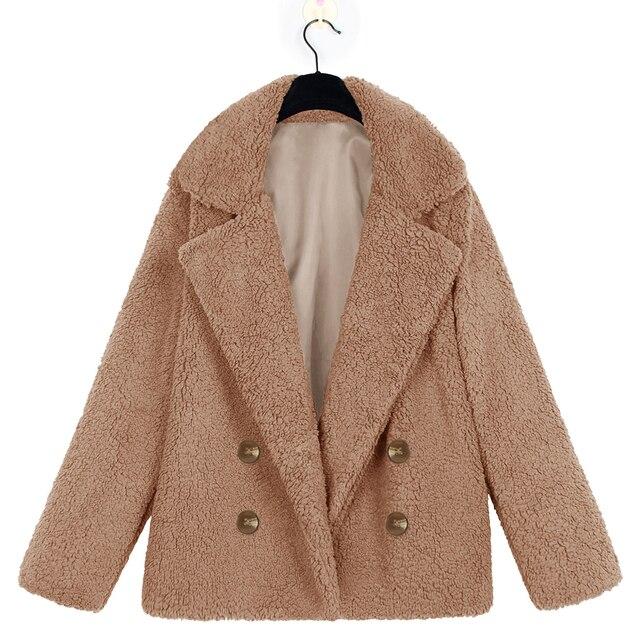 Novo Inverno Quente Macio Urso de Pelúcia Mulheres Jaqueta Casaco Elegante Casaco de Pele Falso Harajuku Botão Fur Jacket Casual Fluffy Plush sobretudo