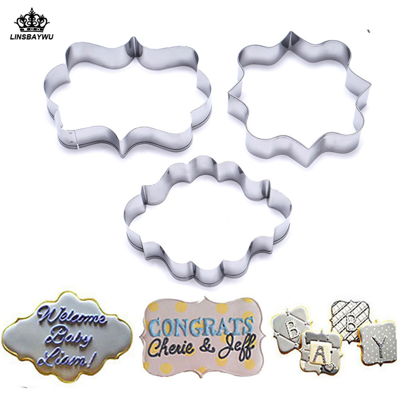 Hot Sale 3Pcs Cookie Cutter Set DIY Pastry Fondant Mold Stainless Steel Sugarcraft Cake Mold Decorating Frame Cutters