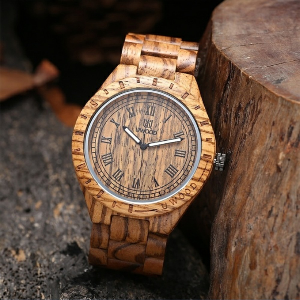 Handmade Natural Zebra Wood Analog Watch Men UWOOD Japan MIYOTA Quartz Movement Wooden Watches Dress Wristwatch For Unisex Gifts yisuya luxury wooden watches for men vintage analog quartz handmade walnut zebra bamboo wood band wristwatch clock gifts reloj